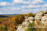 63895-16315 Camel Rock in fall color Garden of the Gods Recreation Area Shawnee National Forest IL