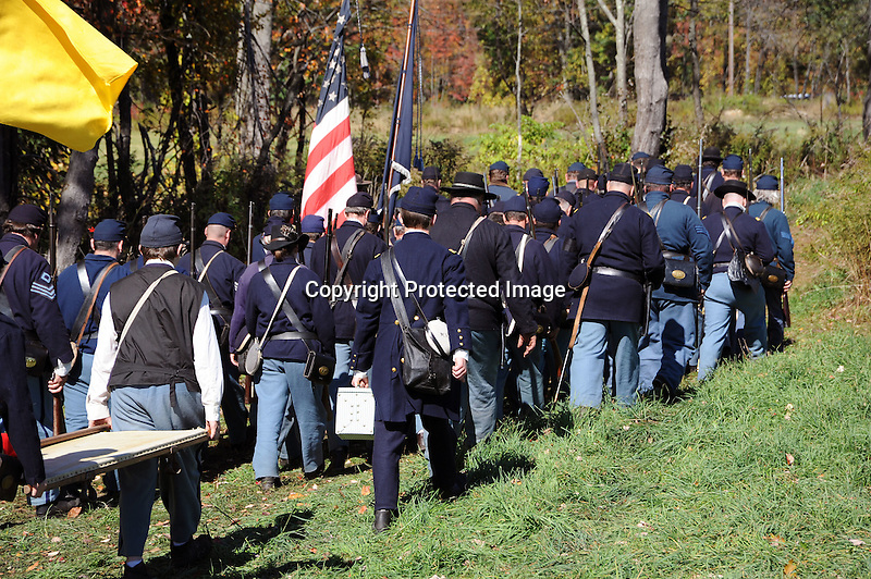 Civil War Reenactment Union Army Marching to Battle