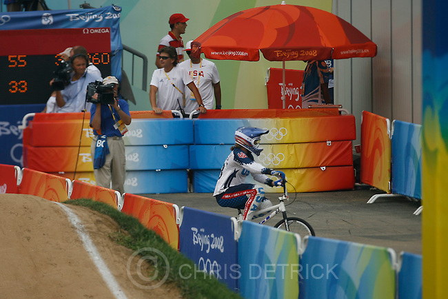 USA's Jill Kintner, #33, after competing in the women's qualification round at the BMX Venue in Beijing, Wednesday, August 20, 2008. .Chris Detrick/The Salt Lake Tribune.