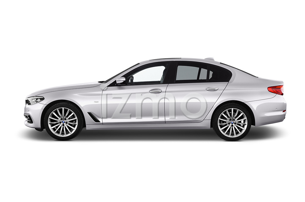 Car Driver side profile view of a 2017 BMW 5-Series Sport 4 Door Sedan Side View