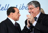 Il leader del Popolo della Liberta' Silvio Berlusconi parla con Carlo Giovanardi, a destra, al termine della manifestazione dei Popolari Liberali a Roma, 23 febbraio 2008..Leader of the People of Freedom Silvio Berlusconi talks to lawmaker Carlo Giovanardi, right, at the end of an electoral rally in Rome, 23 february 2008..UPDATE IMAGES PRESS/Riccardo De Luca