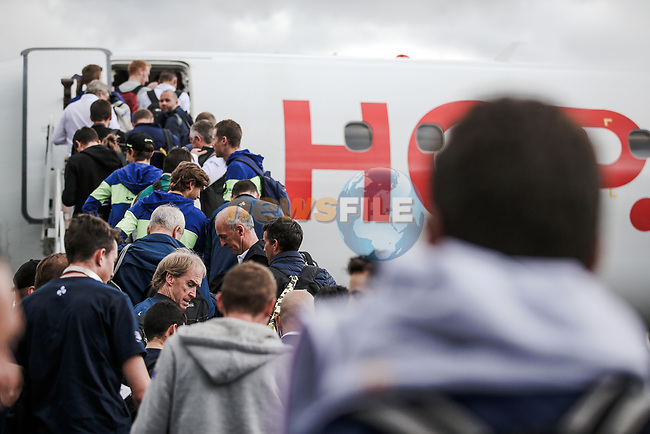 Boarding the flight to the final Stage 21 of the 2019 Tour de France running 128km from Rambouillet to Paris Champs-Elysees, France. 28th July 2019.<br /> Picture: ASO/Thomas Maheux | Cyclefile<br /> All photos usage must carry mandatory copyright credit (© Cyclefile | ASO/Thomas Maheux)