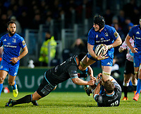 28th February 2020; RDS Arena, Dublin, Leinster, Ireland; Guinness Pro 14 Rugby, Leinster versus Glasgow; Ryan Baird of Leinster looks to offlod the ball as he is tackled by Aki Seiuli and Callum Gibbins of Glasgow