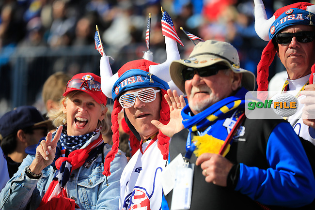 US fans during the Saturday Fourballs at the Ryder Cup, Le Golf National, Paris, France. 29/09/2018.<br /> Picture Phil Inglis / Golffile.ie<br /> <br /> All photo usage must carry mandatory copyright credit (© Golffile | Phil Inglis)