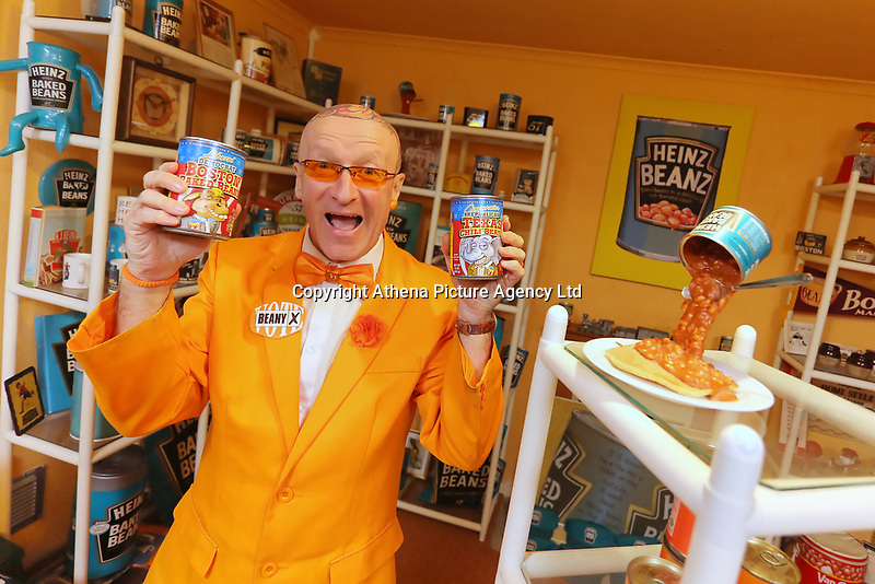 Captain Beany (real name Barry Kirk) in his Baked Beans Museum of Excellence in his flat in the Sandfields area of Port Talbot, Wales, UK. 10 November 2016