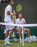 London, England, 5 th. July, 2018, Tennis,  Wimbledon, Men's singles, Robin Haase (NED) looks on to  Nick Kyrgios (AUS) during changeover<br /> Photo: Henk Koster/tennisimages.com