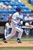 Asheville Tourists designated hitter Grant Lavigne (34) swings at a pitch during a game against the Delmarva Shorebirds at McCormick Field on May 5, 2019 in Asheville, North Carolina. The Shorebirds defeated the Tourists 10-9. (Tony Farlow/Four Seam Images)