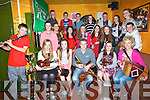 MUSICIANS: Siabh Mish CCE who were All Ireland Champions in Derry and on Friday evening they were honoured by the Sliabh Mish Committee by presenting the musicians/singers/Dancers/Singers and story tellers, with specia trophy's to mark the occasion in Glenduff House, Kielduff . Front l-r: Padraig Enright, Megan O'Connor, Ciara Fell, Micheál O'Shea, Alana Kissane and Breda O'Shea. Back were Shóna Gleeson, Fiona Fell,Cliona Daly, Cailin O'Shea, Miriam Fell, Aoife Enright, Mairtín Ó Cathasaigh,Aisling O'Neill, Siobhan Griffin, Michael Fell, Morgan Sayers, Rob Fell, Michael O'Shea and Thomas Hayes.