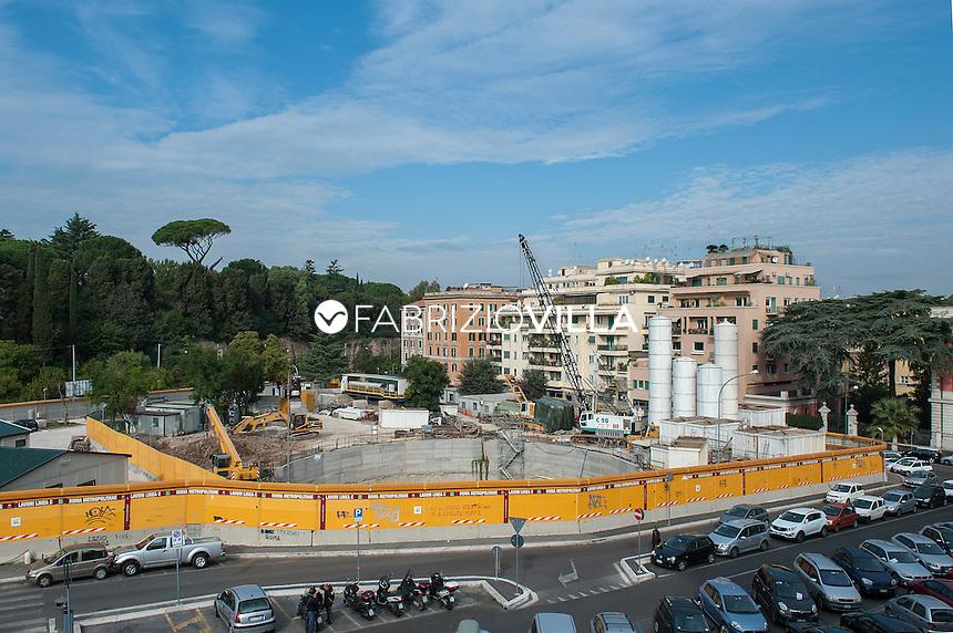 Roma, cantiere metropolitana Linea C. in Largo della Sanità militare.