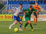 2018-07-04 / Voetbal / seizoen 2018 -2019 / KSK Heist - Lommel SK / Stig Engelen (l.KSK Heist) met Sam Valcke ,Foto: Mpics.be
