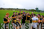 Victorious Dr Crokes who beet Gneeveguilla get a talk from manager Harry O'Neill in Gneeveguilla last Sunday evening in round 1 of the Garvey's Supervalue County Senior Championship.