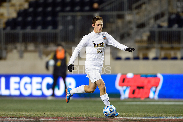 Notre Dame Fighting Irish midfielder Evan Panken (15). The Notre Dame Fighting Irish defeated the New Mexico Lobos 2-0 during the semifinals of the 2013 NCAA division 1 men's soccer College Cup at PPL Park in Chester, PA, on December 13, 2013.