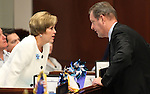 Nevada Senate Democrats Shirley Breeden and John Lee talk on the Senate floor on April 18, 2011, at the Legislature in Carson City, Nev. .Photo by Cathleen Allison