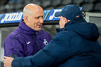 Swansea u21's Manager Cameron Toshack   shakes hands with Manager of Coventry Russell Slade  during the EFL Checkatrade Trophy Quarterfinal Match between Swansea City U21 and Coventry City at the Liberty Stadium, Swansea on January 24, 2017