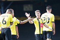 Team mates congratulate Lloyd Kerry, Harrogate Town,  following his goal which doubled the lead during Southend United vs Harrogate Town, Sky Bet EFL League 2 Football at Roots Hall on 12th September 2020