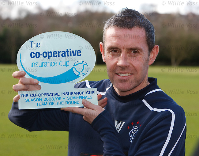 David Weir accepts the Co-Op Cup team of the round award for Rangers