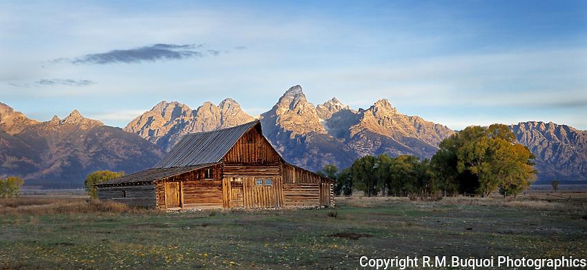 Sunrise on Mormon Barn in Grand Teton National Park