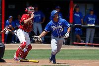 Tyler Kuresa #18 of the UC Santa Barbara Gauchos bats against the Cal State Northridge Matadors at Matador Field on May 12, 2013 in Northridge, California. Cal State Northridge defeated UC Santa Barbara 7-1. (Larry Goren/Four Seam Images)