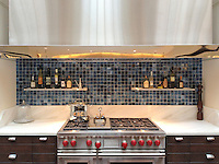 Grid jewel glass tesserae shown in Marcasite.<br /> -photo courtesy of Decorative Materials