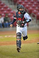 Cedar Rapids Kernels catcher Ben Rortvedt (4) in action against the Clinton LumberKings at Veterans Memorial Stadium on April 13, 2018 in Cedar Rapids, Iowa. Clinton won 2-0.  (Dennis Hubbard/Four Seam Images)