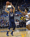 Utah State  guard  Brock Miller (22) passes the ball against Nevada in the second half of an NCAA college basketball game in Reno, Nev.,  Wednesday, Jan. 2, 2019. (AP Photo/Tom R. Smedes)