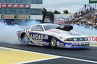 Jun. 1, 2012; Englishtown, NJ, USA: NHRA pro stock driver Larry Morgan during qualifying for the Supernationals at Raceway Park. Mandatory Credit: Mark J. Rebilas-