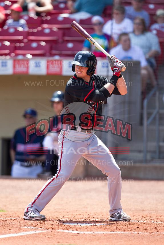Lansing Lugnuts designated hitter Shane Opitz #16 bats during a game against the Cedar Rapids Kernels at Veterans Memorial Stadium on April 30, 2013 in Cedar Rapids, Iowa. (Brace Hemmelgarn/Four Seam Images)