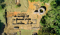 Aerial view of the ruins of the Fortaleza de la Concepcion, a defensive fortress ordered to be built in 1494 by Christopher Columbus at Vega Vieja, Dominican Republic, in the Caribbean. The brick fort was completed in 1502, but most of it was destroyed in an earthquake in 1562. Picture by Manuel Cohen