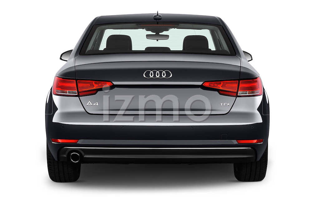 Straight rear view of 2017 Audi A4 Sport 4 Door Sedan Rear View  stock images
