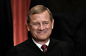 Chief Justice of the United States John G. Roberts poses during a group photograph at the Supreme Court building on June 1 2017 in Washington, DC.<br /> Credit: Olivier Douliery / Pool via CNP