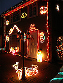 Houses on an ex-council estate decorated for Christmas.