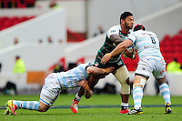 Manu Tuilagi of Leicester Tigers takes on the Racing 92 defence. European Rugby Champions Cup semi final, between Leicester Tigers and Racing 92 on April 24, 2016 at The City Ground in Nottingham, England. Photo by: Patrick Khachfe / JMP