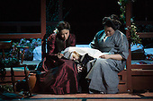 "London, UK. 25 February 2015. Hyeseoung Kwon as Cio Cio San/Butterfly and Sabina Kim as Suzuki. Dress rehearsal of the Puccini opera ""Madam Butterfly"", staged in the round of the Royal Albert Hall. The opera is performed from 26 February to 15 March 2015. Directed by David Freeman with Oliver Gooch conducting the Royal Philharmonic Orchestra. Cast includes: Hyeseoung Kwon as Cio Cio San/Butterfly, Jeffrey Gwaltney as Pinkerton, David Kempster as Sharpless, Sabina Kim as Suzuki, Michael Druiett as The Bonze, Julius Ahn as Goro and Lise Christensen as Kate Pinkerton."