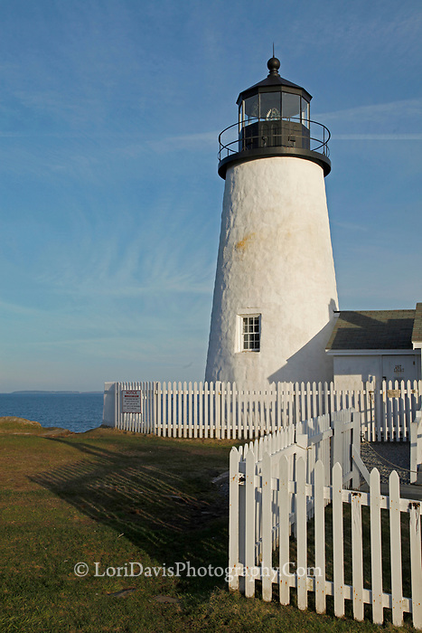Pemaquid Point Light, lighthouse, Maine, coast, coastal, white picket fence, New Harbor, Bristol, photograph, photography, print, picture, giclee, matted, framed, canvas gallery wrap, note card