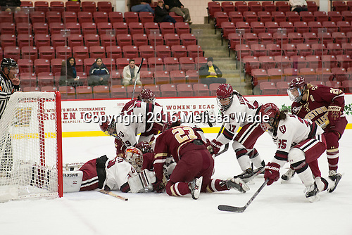 Emerance Maschmeyer (Harvard - 38), Miye D'Oench (Harvard - 19), Tori Sullivan (BC - 9), Andie Anastos (BC - 23), Briana Mastel (Harvard - 17), Sydney Daniels (Harvard - 25), Lexi Bender (BC - 21) - The visiting Boston College Eagles defeated the Harvard University Crimson 2-0 on Tuesday, January 19, 2016, at Bright-Landry Hockey Center in Boston, Massachusetts.