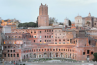 Panoramic view of Trajan's Markets, Rome, Italy. The semi-circular, brick built Trajan's Markets (early 2nd century), form an ancient shopping mall with shops on the ground floor with arched entrances and offices above. Picture by Manuel Cohen