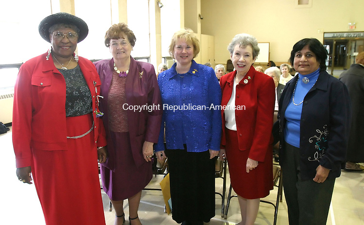 WATERBURY, CT 4/10/07- 041007BZ09- From left- Bermer Ridenhour, of Waterbury, President of the Waterbury Women's Club; Jean Brown, past state president of the General Federation of Women's Clubs of Connecticut; Jeanne Waseleski, state president of the General Federation of Women's Clubs of Connecticut; Mary Antey, 3rd v.p. of the General Federation of Women's Clubs of Connecticut; Hemlata Khona, corresponding secretary of the General Federation of Women's Clubs of Connecticut; <br /> during a meeting celebrating the 118th birthday of the Waterbury Women's Club Tuesday.   The event was held at the First Congregational Church on West Main Street <br /> Jamison C. Bazinet Republican-American