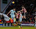 Jack O'Connell of Sheffield Utd attempts to head towards goal during the Championship match at Bramall Lane Stadium, Sheffield. Picture date 26th December 2017. Picture credit should read: Simon Bellis/Sportimage