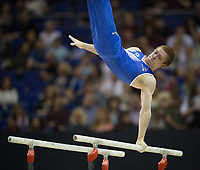 Alexey Rostov (RUS) in action during the men's Parallel Bars competition.  FIG World Cup Series of Gymnastics. The O2 Arena, London,  Britain 8th April 2017.
