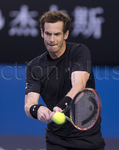 01.02.2015. Melbourne, Australia.  Andy Murray of Great Britain returns the ball during his mens singles  final match against Novak Djokovic of Serbia at 2015 Australian Open tennis tournament at Melbourne Park in Melbourne, Australia on Feb. 1, 2015. Djokovic won the final in 4 sets 7-6 (7-5) 6-7 (4-7) 6-3 6-0