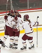 Kenzie Kent (BC - 12), Haley Skarupa (BC - 22), Alex Carpenter (BC - 5) - The Boston College Eagles defeated the Northeastern University Huskies 5-1 (EN) in their NCAA Quarterfinal on Saturday, March 12, 2016, at Kelley Rink in Conte Forum in Boston, Massachusetts.
