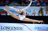 September 11, 2015 - Stuttgart, Germany - LAURA ZENG of USA performs with hoop in the All Around final to take 8th place. By placing in the top 15-gymnasts, Laura wins ticket to Rio 2016 Olympics.