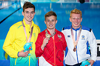 Picture by Alex Whitehead/SWpix.com - 11/04/2018 - Commonwealth Games - Diving - Optus Aquatics Centre, Gold Coast, Australia - Jack Laugher of England wins Gold in the Men's 1m Springboard final, Silver - Australia's James Connor, Bronze - Scotland's James Heatly.