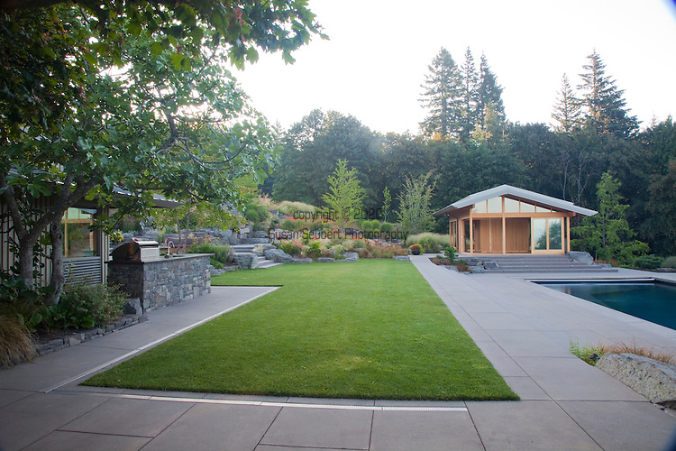 Views of the outdoor kitchen area, the swimming pool and the yoga pavilion which was designed by architect Michael McCulloch