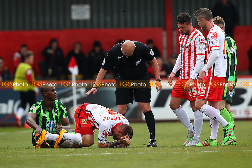 Injury concern for Luke Wilkinson of Stevenage (grounded) during Stevenage vs AFC Wimbledon, Sky Bet League 2 Football at the Lamex Stadium on 30th April 2016