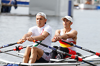 Race 5  -  Event: Doubles  -   Berks: 566 J.R. Thompson & T.K. Carter  -   Bucks: 559 T.D.A.C. Male & M.R. Mitchell<br /> <br /> Thursday - Henley Royal Regatta {iptcyear4}<br /> <br /> To purchase this photo, or to see pricing information for Prints and Downloads, click the blue 'Add to Cart' button at the top-right of the page.
