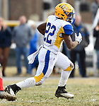 Borgia running back Alonzo MacDonald carries the ball. Roosevelt defeated Borgia in a Class 3 District 2 football game at Roosevelt HS in St. Louis on Saturday November 16, 2019. <br /> Tim Vizer/Special to STLhighschoolsports.com