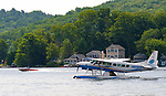 WINSTED,  CT-071919JS09--  A Cessna 208B Grand Caravan, registered with Galaxy Lift LLC of New York City, landed on Highland Lake in Winsted on Saturday. Before taking off, they parked it in the boat launch parking lot. <br /> Jim Shannon Republican American
