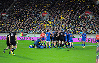 A scuffle breaks out during the Steinlager Series international rugby match between the New Zealand All Blacks and France at Westpac Stadium in Wellington, New Zealand on Saturday, 16 June 2018. Photo: Dave Lintott / lintottphoto.co.nz