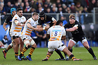 Luke Charteris of Bath Rugby takes on the Wasps defence. Heineken Champions Cup match, between Bath Rugby and Wasps on January 12, 2019 at the Recreation Ground in Bath, England. Photo by: Patrick Khachfe / Onside Images